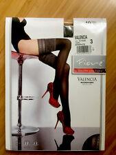 Fiore Valencia Graphite Black 40 Den Patterned Nylon Hold Ups Size Medium C30