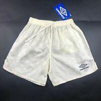 NWT Vintage 90s Umbro Nylon Checkered Soccer Shorts White Yellow Youth L USA
