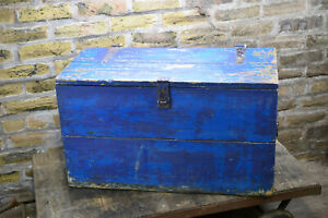 blue wooden chest 79 x 38 x 46 cm storage toy box
