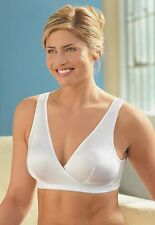 GLAMORISE Bra 36D 36DD 36 D-DD WRAP COMFORT Leisure STRETCH Sleep 1850 White NEW