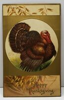 Clapsaddle Thanksgiving Turkey Wheat Golden Embossed Postcard F16