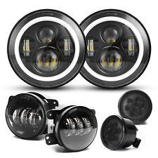 For Jeep Wrangler JK 2007-18 Halo 7'' LED Headlights Turn Signal Fog Lamps Combo