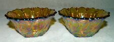 Vintage Indiana Glass Amber Carnival Glass Tapered Candlestick Holder Iridescent