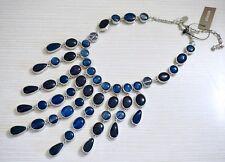 NWT $70 Chico's Rachel Bib Necklace, Blue Resin Stones & Silver