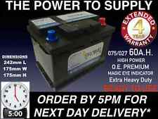 DIESEL CAR BATTERY 027 075 60AH EXTRA HEAVY DUTY SEALED O.E.M. NEXT DAY BY5PM