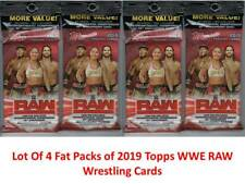 (4) 2019 Topps WWE RAW New Wrestling Trading Cards 21c Retail FAT PACK LOT FS