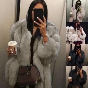 Plus Size Womens Fluffy Coat Overcoat Ladies Faux Fur Winter Warm Outwear Hot