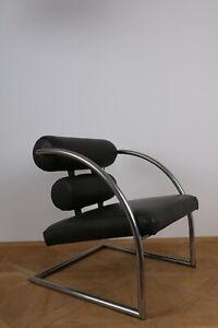 Stahlrohr-Sessel Italien1960-1970 - Gepolstert - Lederbezogen (Freischwinger)