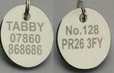 """PET ID Tag Etichette """"entrambe le parti incise libero"""" 20mm Nickel PLATE SILVER Disc, + ANELLO"""