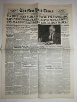 N1137 La Une Du Journal The New York times 9 December 1941 U. S Déclares war