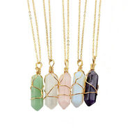 Top  Gemstone Natural Crystal Quartz Healing Point Chakra Stone Pendant Necklace