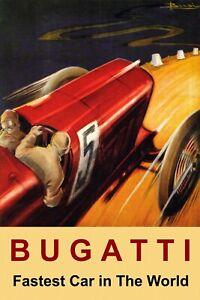 Bugatti Fastest Car Automobile Race Grand Prix Vintage Poster Repro FREE S/H