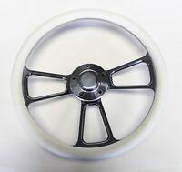 "1955 1956 Chevrolet Bel Air White and Billet Steering Wheel 14"" polished cap"