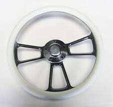 "1955 1956 Chevrolet Bel Air White and Billet Steering Wheel 14"" polished cap"