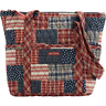 Patriotic RED NAVY BLUE WHITE QUILTED PATCHWORK COTTON Tote Bag Purse Zip Close