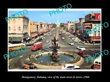 OLD LARGE HISTORIC PHOTO OF MONTGOMERY ALABAMA, THE MAIN STREET & STORES c1960