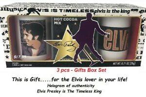 hostess gift set Elvis Presley The Timeless King Gift Set 2 Coffee Mugs Cocoa