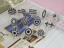 WHOLESALE LOT OF 12 CLEAR BLACK CRYSTAL JEWELRY RINGS
