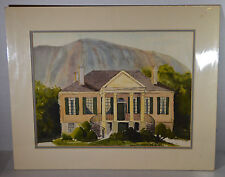 "18"" Watercolor Painting on Paper Stone Mountain GA Manor House Landscape Decor"