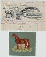 SUPER -Advertising Billhead & Diecut - Smith Horse Harness  1894  Rochester NY
