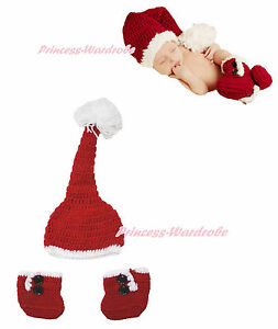 XMAS Red White Crochet Santa Claus Hat Boots Newborn Baby Girl Costume NB-6Month