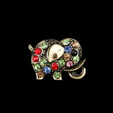 Brooch Pin Party Jewelry Gift Retro Vintage Bronze Elephant Rhinestone Crystal