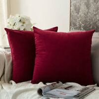 MIULEE Pack of 2 Velvet Soft Soild Decorative Square Throw Pillow Covers Set