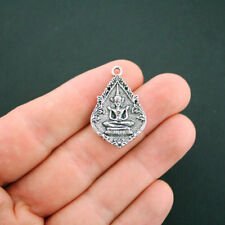 2 Buddha Pendant Charms Antique Silver Tone 2 Sided Beautiful Design - SC5995