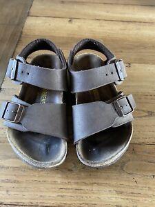 Birkenstocks Sandals Brown Leather Infants Kids 26 Uk 8