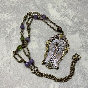Handmade Purple and green art nouveau fairy necklace in antique brass