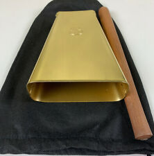 Hand Held Cowbell Painted Gold Color With Bag And Stick. Low Pitch.