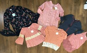 NWT UMGEE Lot Bundle of 6 Boho Peasant Crochet Lace Blouses Size Small/Medium