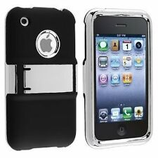 Deluxe Rubberized Hard Case with Chrome Stand for iPhone 3G / 3GS - Black