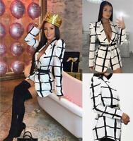 Women's Grid Pattern Puff Shoulder Sleeve Gingham Shirt Wrap Buckle Belt Blouse