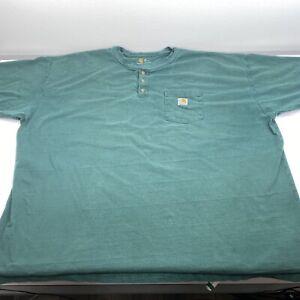 Carhartt Men's Size 4XL Short Sleeve Henley Pocket Cotton T-Shirt Green      U18