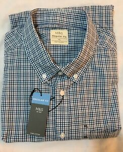 M&S COLLECTION MENS REGFIT PURE COTTON GINGHAM CHECKED SHIRT IN BLUE MIX Size XL