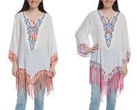 844d89fe405be Women Plus Size Summer Tunic Long Sleeves Fringe Trim Tunic Ladies Cotton  Tops