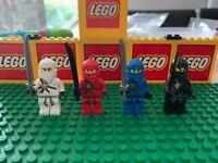 LEGO 4 MAIN ORIGINAL version NINJAS minifigures NINJAGO KAI JAY COLE ZANE 2504