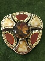 1980s Scottish Miracle Brooch Plaid Pin Kilt Shawl Pin Agate Carnelian Vintage
