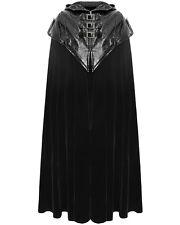 Punk Rave Mens Cloak Coat Black Velvet Faux Leather Gothic Steampunk VTG Regency