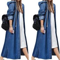 Women Long Line Denim Jacket Coat Hooded Jeans Overcoat Casual Outwear Plus Size