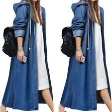 Женские длинные линии джинсовая куртка пальто с капюшоном мешковатые джинсы, пальто, верхняя одежда, плюс размер