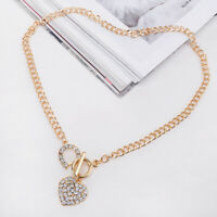 Short Clasp Toggle Heart Pendant Gold Rhinestone Bling Love Necklace Chain Woman