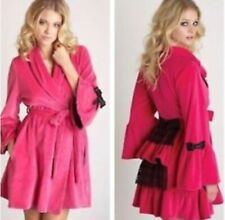 Betsey Johnson S Pink Lolita Velour Lace Bustle Back Robe RHOC-NWOT-Small