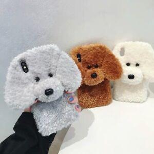 Cute Teddy Puppy Dog Girl Warm Plush Fluffy Case Cover For iPhone 6 7 8 11 12 13