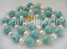 """30"""" 10mm natural white round freshwater pearl and 14mm turquoise necklace"""
