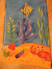 Blue Whimsical Tropical Octopus~Turtles~Crab~Fish ~Colorful fabric Shower Curtain