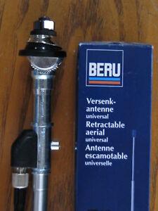 NEW BERU Chrome Mast AM FM Radio Key Lock Retractable Telescopic Antenna Aerial