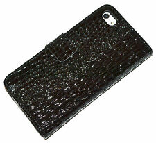 Black Croc Style Leather Wallet Purse Case Cover For iPhone 5/5s/SE