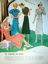 1930s Fashion Print As Young As April Ladies in Park Spring Dresses McCalls Art